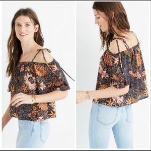 NWOT Madewell silk off the shoulder tie top